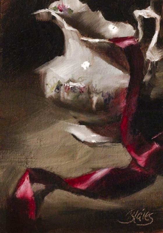 """Scarlet Ribbon"" original fine art by Pamela Blaies"