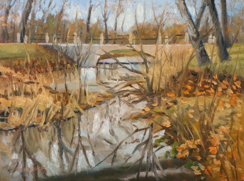 """Bridge Near Muny III en plein air"" original fine art by Daniel Fishback"