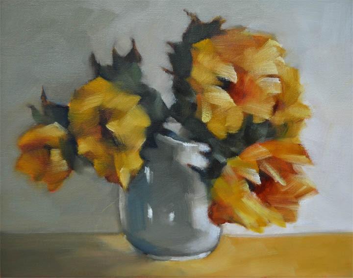 """""""Kitchen Sunflowers"""" original fine art by Cheryl Wilson"""