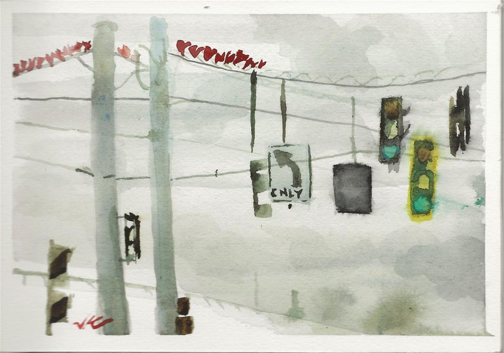 """Off Ramp - Winter Hearts"" original fine art by Jean Krueger"