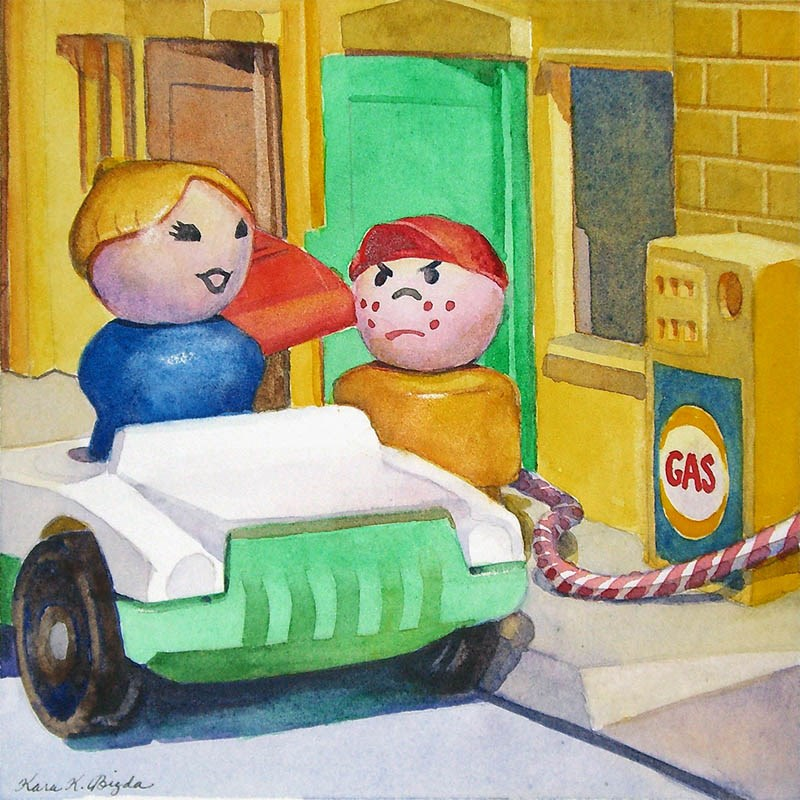 """Fill It Up . . . Hi-Test"" original fine art by Kara K. Bigda"