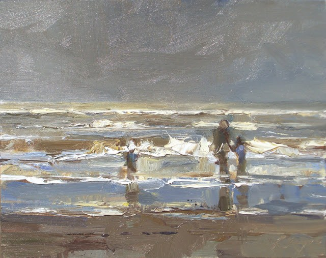 """""""Seascape winter #32 Winter sea and family"""" original fine art by Roos Schuring"""
