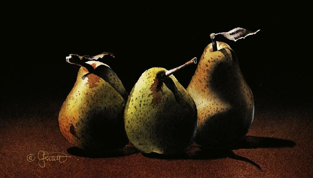 """Three Pears and Stock Reduction Sale on all DVDs."" original fine art by Jacqueline Gnott, TWSA, WHS"