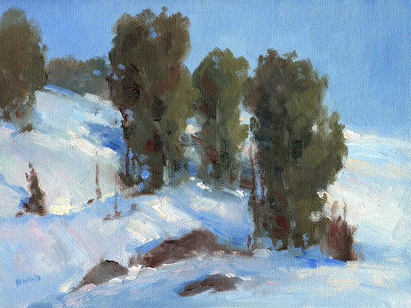 """Junipers in the Snow"" original fine art by Bonnie Bowne"