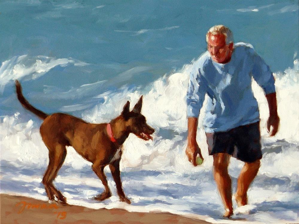 """""""Spring Training -- Series Painting of Dogs & Owners on the Beach"""" original fine art by Joanna Bingham"""