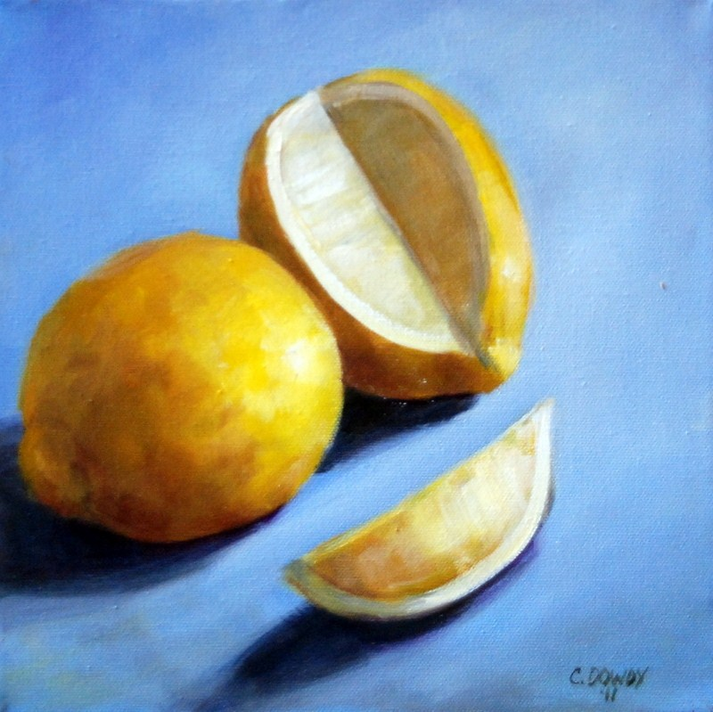 """Lemons with Slice"" original fine art by Christina Dowdy"