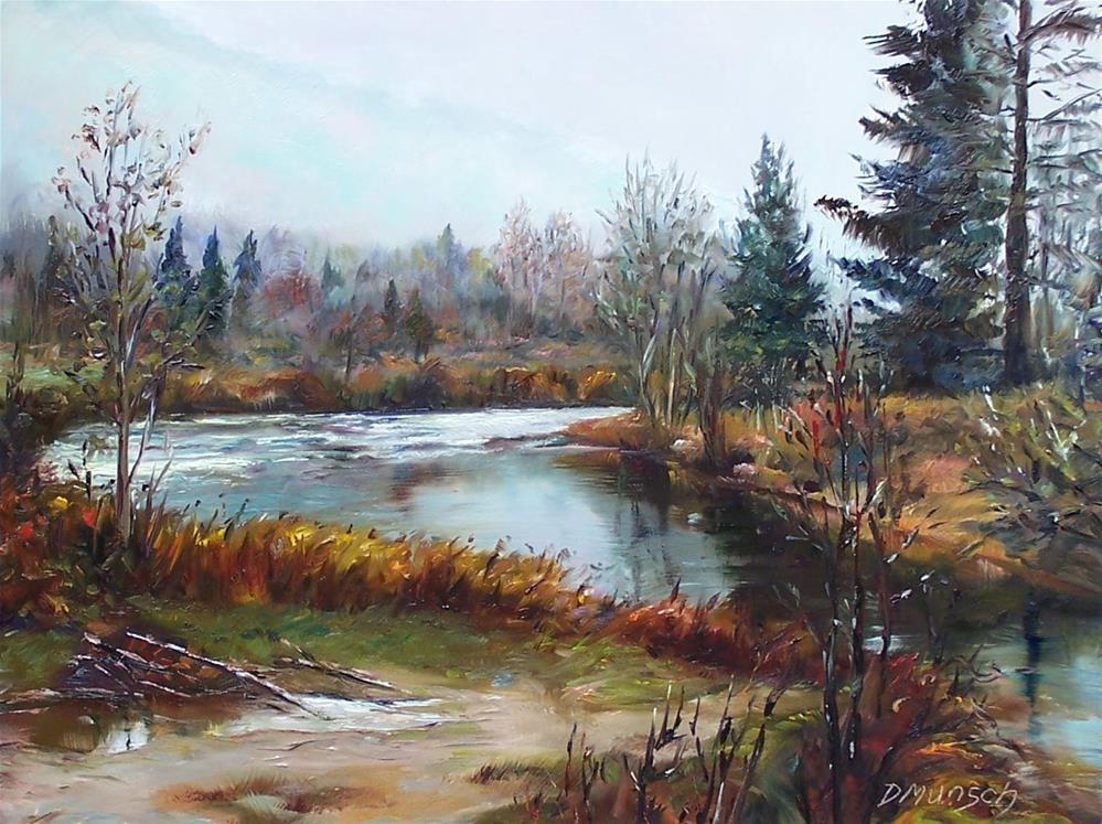 """Foggy Autumn Morning"" original fine art by Donna Munsch"