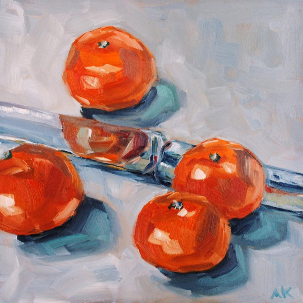 """Clementines and a Knife"" original fine art by Alison Kolkebeck"