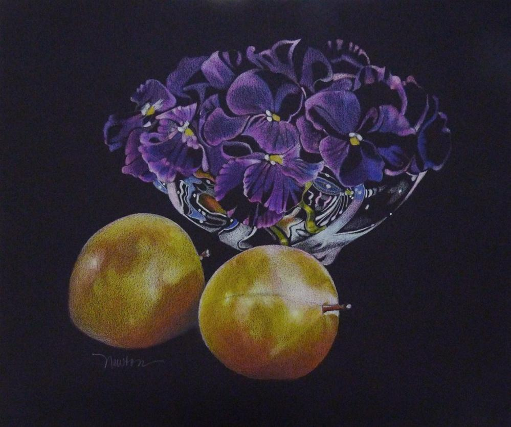 """""""Plums and Violets"""" original fine art by Barbara Benedetti Newton"""