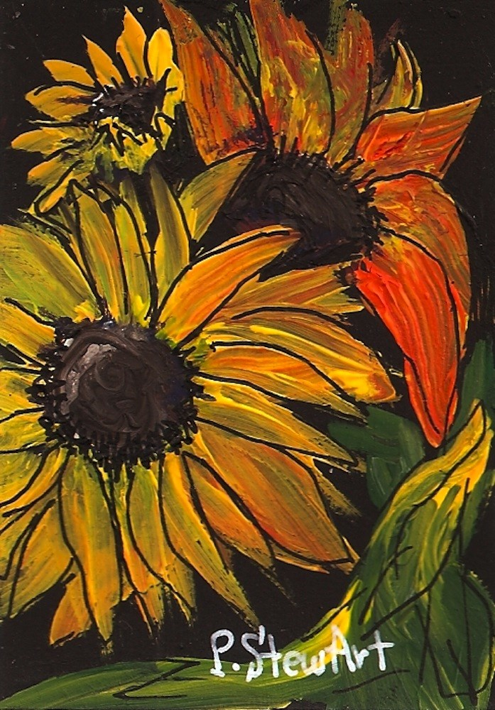 """ACEO, Three Sunflowers, Acrylic on Black Gessoed Background, Original"" original fine art by Penny Lee StewArt"