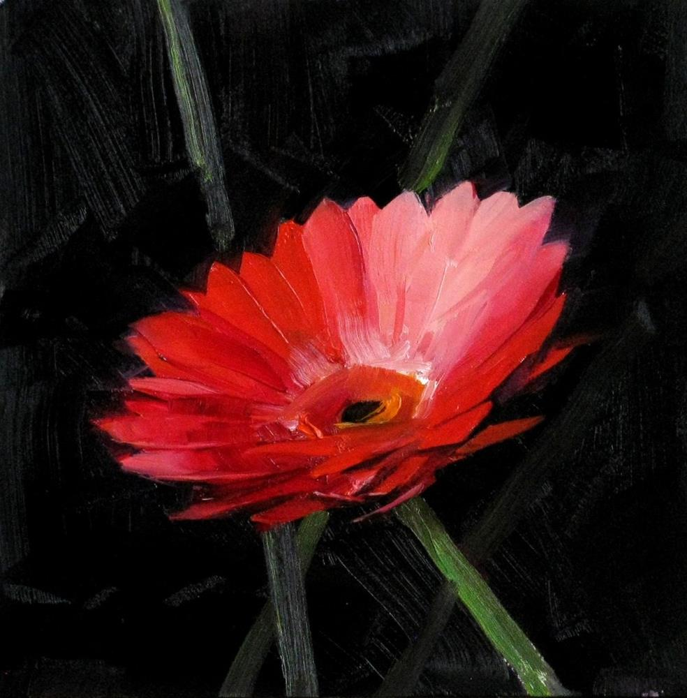 """""""Red Daisy Study 2"""" original fine art by Qiang Huang"""