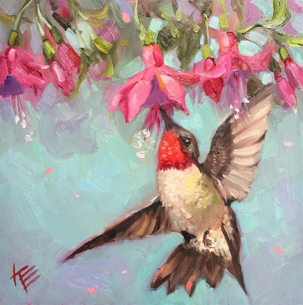 """Hummingbird Sip"" original fine art by Krista Eaton"