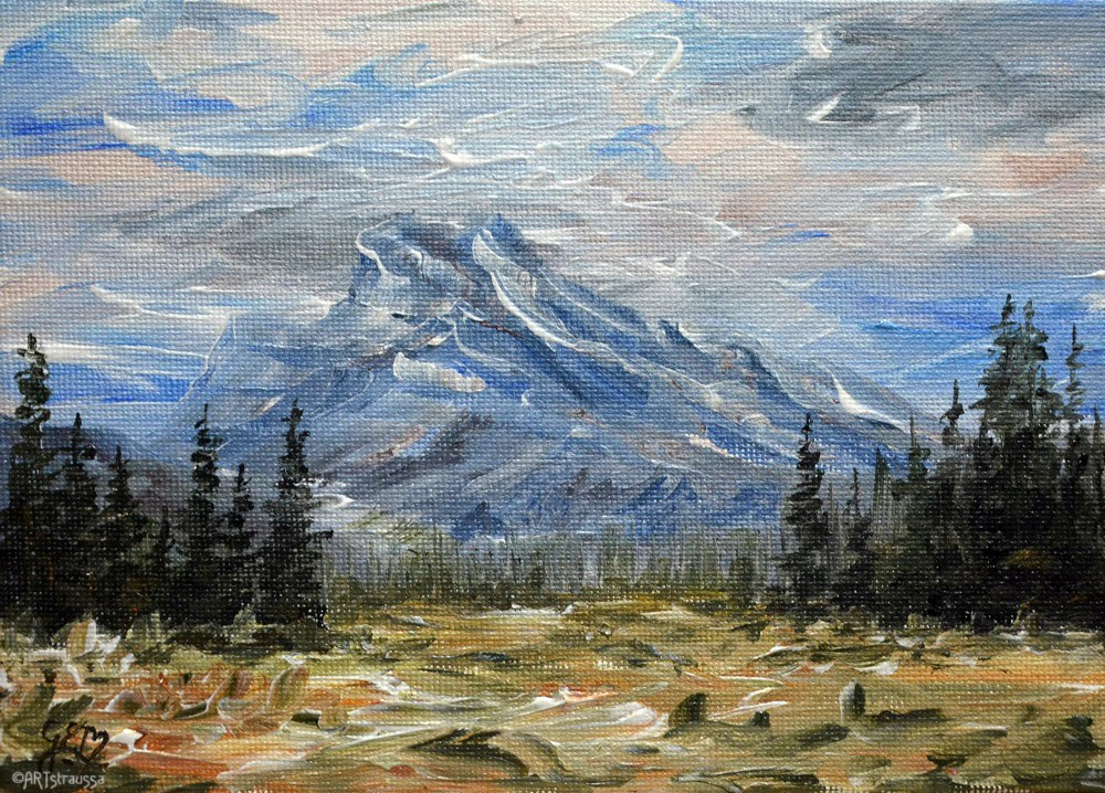 """Mount Rundle"" original fine art by Gloria Ester"
