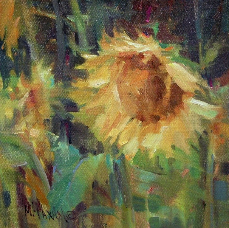 """Sun Spots - Sunflower Color"" original fine art by Mary Maxam"