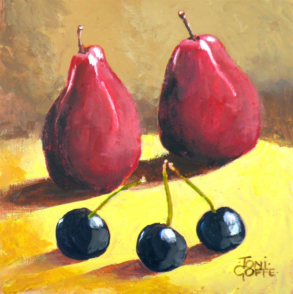 """""""Pears and cherries"""" original fine art by Toni Goffe"""