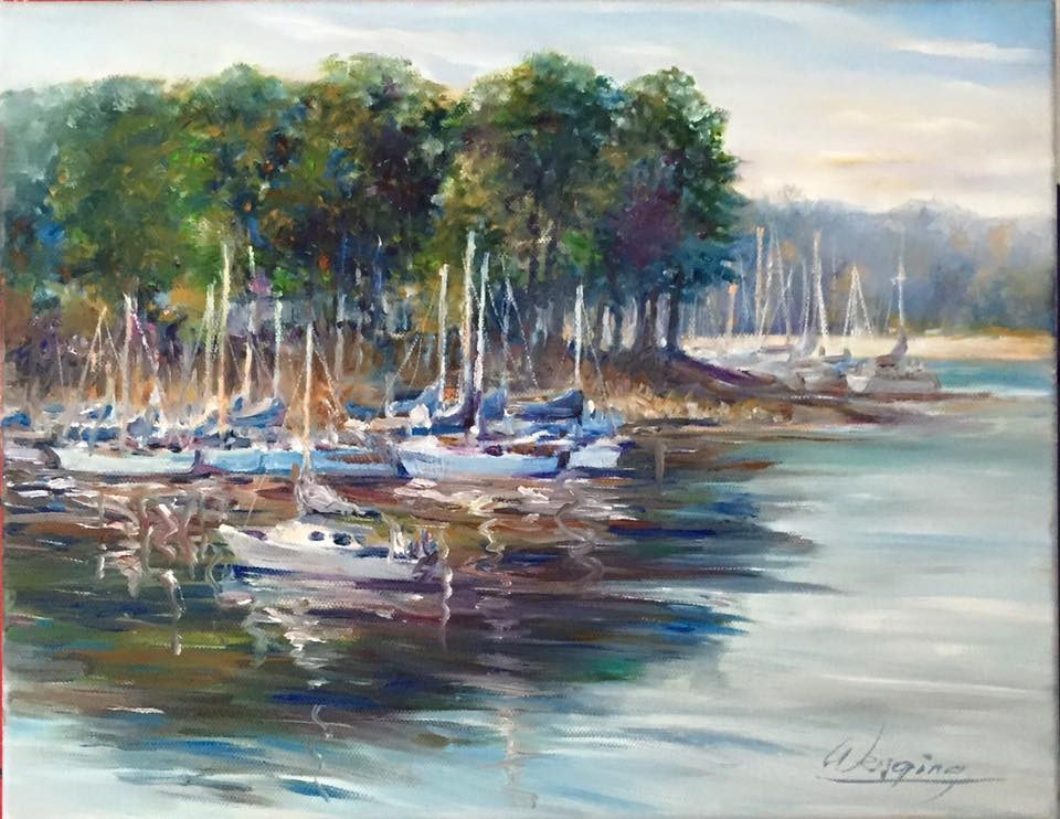"""clark hill lakeside"" original fine art by Wenqing Xu"