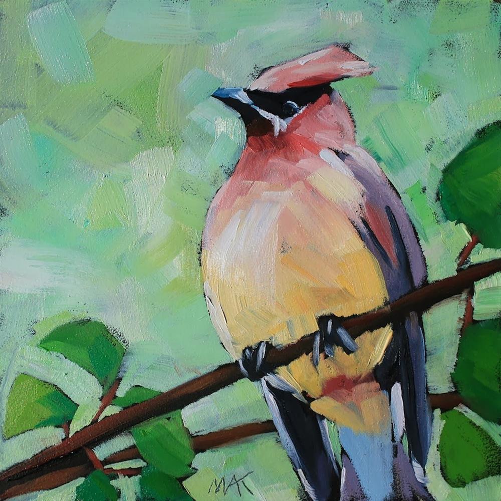 """Cedar Waxwing"" original fine art by Mary Anne Cary"