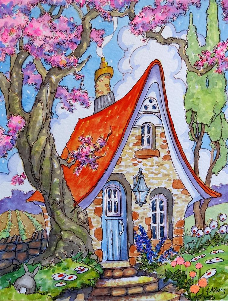 """Divinely Downsized Storybook Cottage Series"" original fine art by Alida Akers"