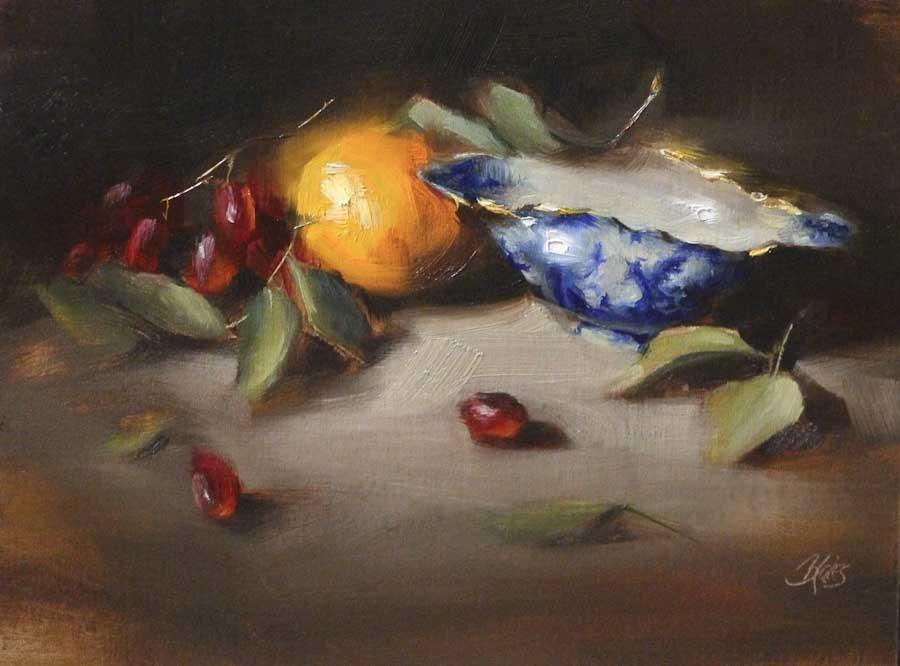 """Fruit and Flow Blue"" original fine art by Pamela Blaies"