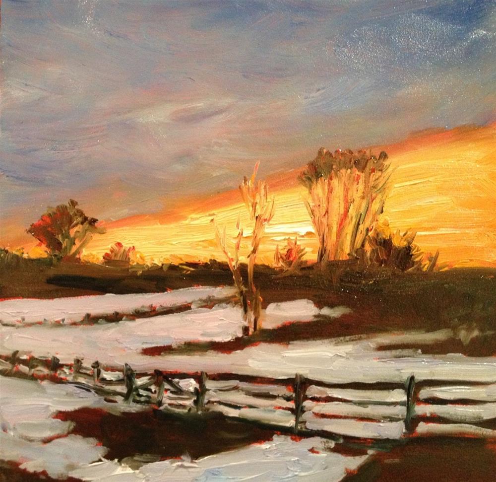 """Winter Evening Sky"" original fine art by Claudia L Brookes"