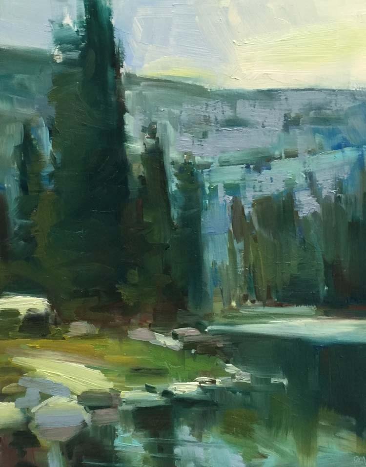 """Moccasin Lake Morning"" original fine art by Patti McNutt"