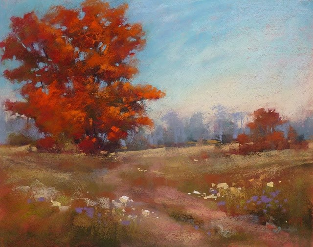 """Painting Fall Foliage with Pastels...Red and Orange Trees"" original fine art by Karen Margulis"