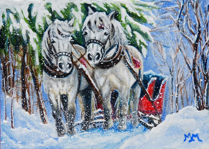 """Sled Horses"" original fine art by Monique Morin Matson"