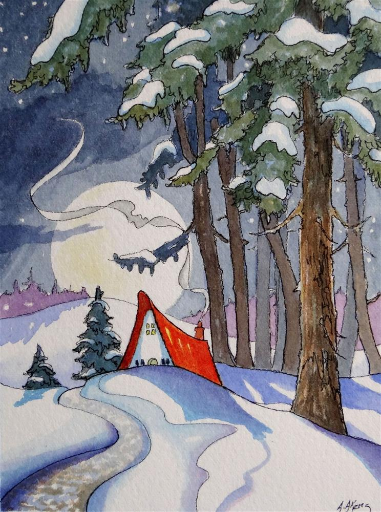 """""""Coming Home by a Winter Moon Storybook Cottage Series"""" original fine art by Alida Akers"""
