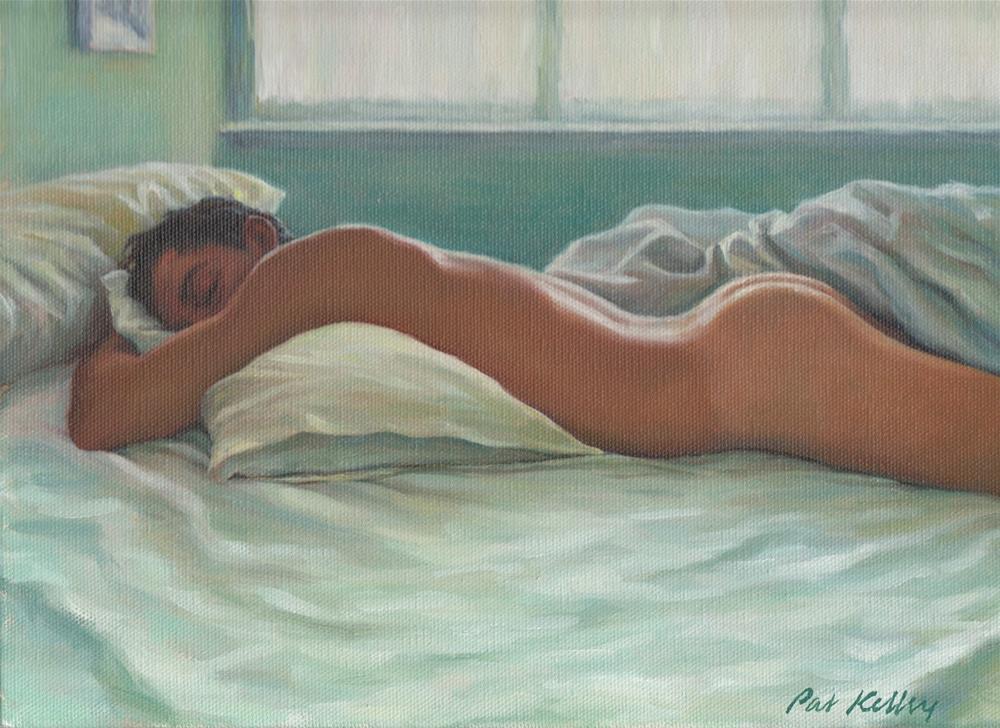 """""""Man Sleeping in Morning Light"""" original fine art by Pat Kelley"""