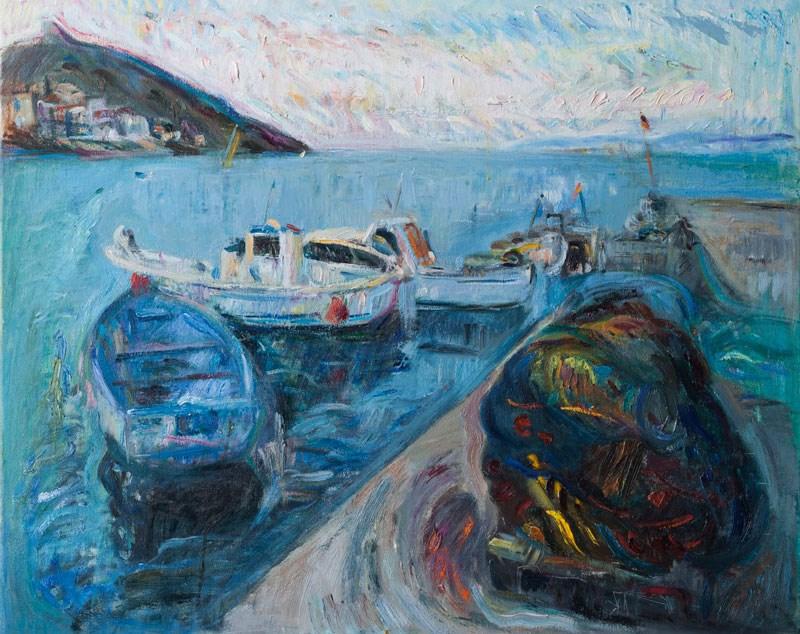 """Seascape with Fishing Boats"" original fine art by Anna Fine Art"