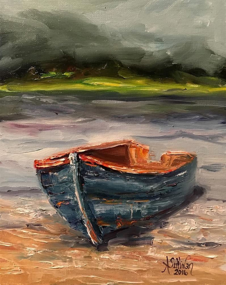 """Beached boat painting by Alabama Artist Angela Sullivan"" original fine art by Angela Sullivan"