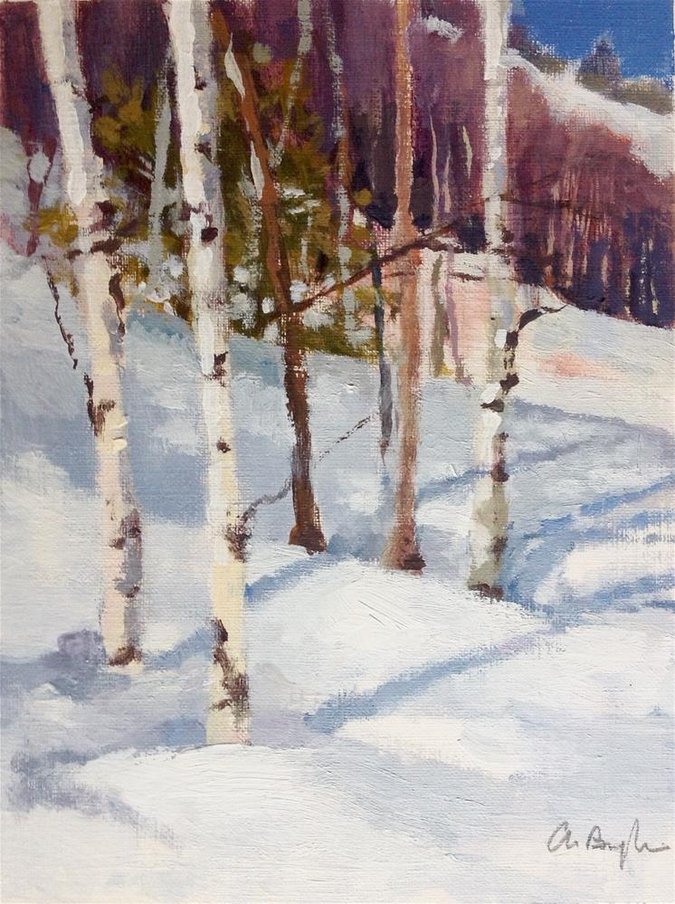 """Trees in the snow"" original fine art by Christine Bayle"