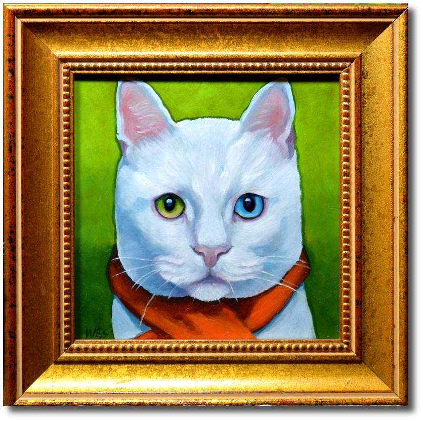 """Fashionista White Cat"" original fine art by Rk Ives"