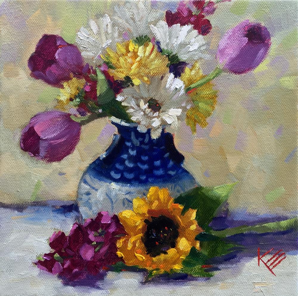 """Tulips & Daisies"" original fine art by Krista Eaton"