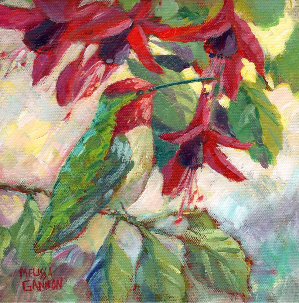 """Perched Among the Fuchsias"" original fine art by Melissa Gannon"