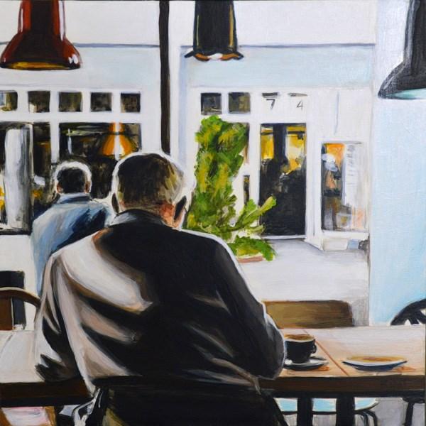 """Study of a Man in a Cafe"" original fine art by Kim Testone"