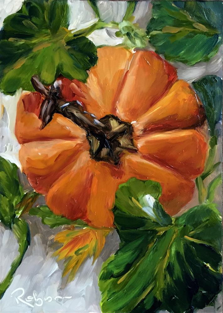 """Pumpkin Bullseye"" original fine art by Renee Robison"