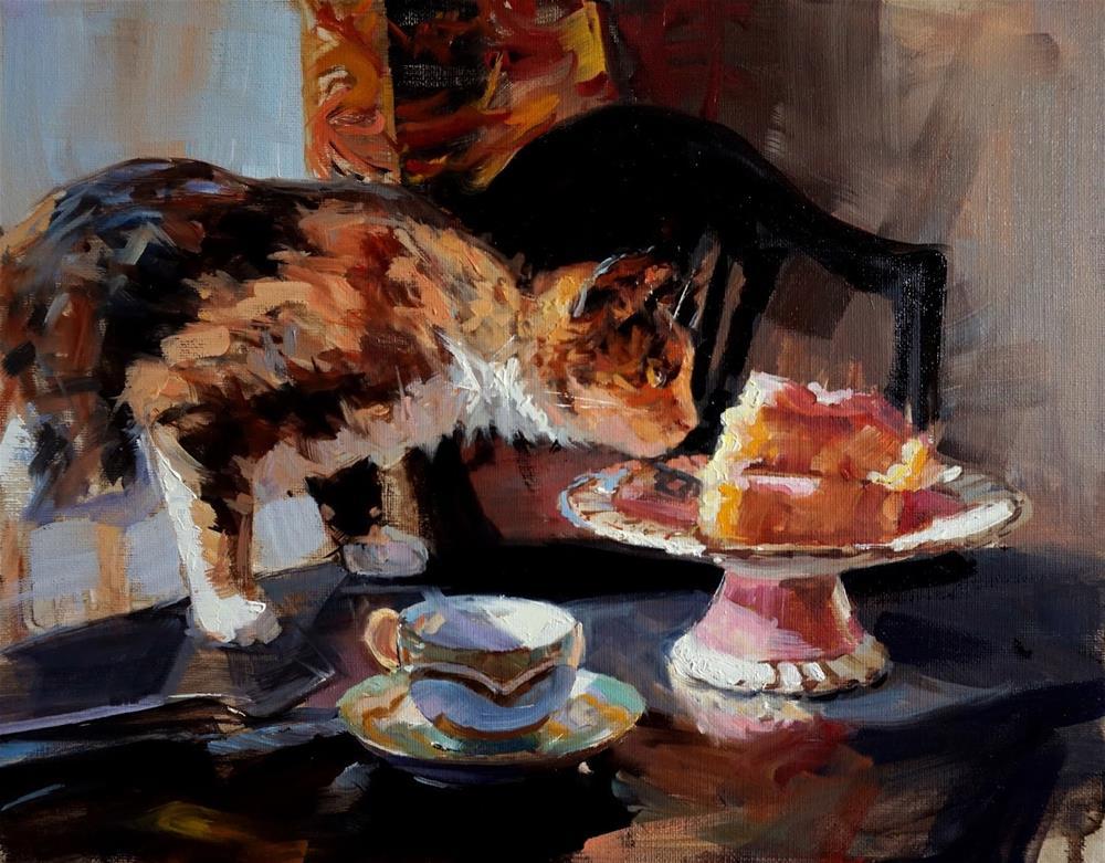 """Cat and Cake"" original fine art by Jonelle Summerfield"
