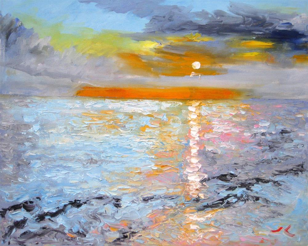 """Sunrise Sea"" original fine art by Julia Lu"