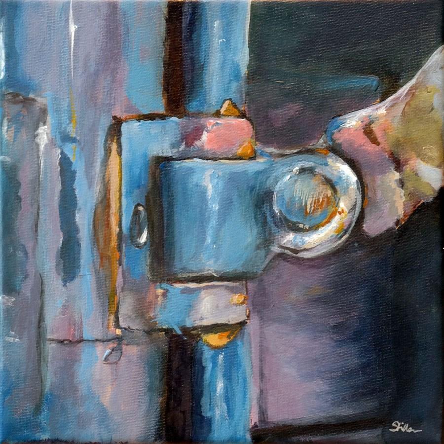 """1082 Door Lock (series 3)"" original fine art by Dietmar Stiller"