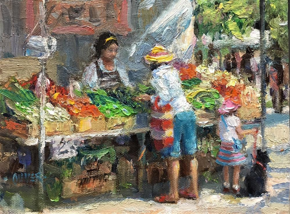 """Farmers Market Series - Yellow Hat."" original fine art by Julie Ford Oliver"