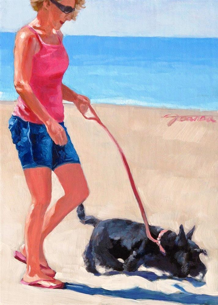 """Something Fishy --Series Painting of Dog & Owner"" original fine art by Joanna Bingham"