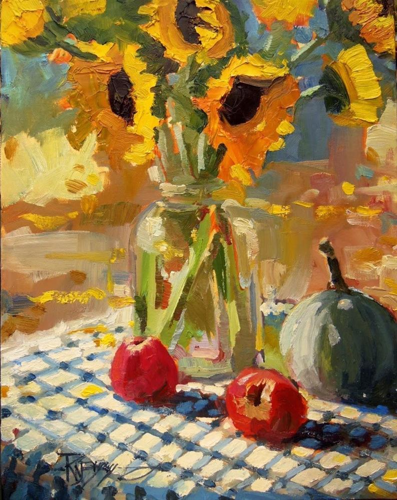 """Sunflower Demo  still life, plein air, oil painting by Robin Weiss"" original fine art by Robin Weiss"