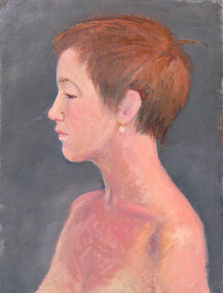 """Portrait in Profile,portrait,oil on canvas,16x12,priceNFS"" original fine art by Joy Olney"