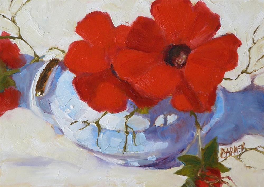 """Fleurs Carmin, 7x5 Oil on Canvas Board Daily Painting"" original fine art by Carmen Beecher"