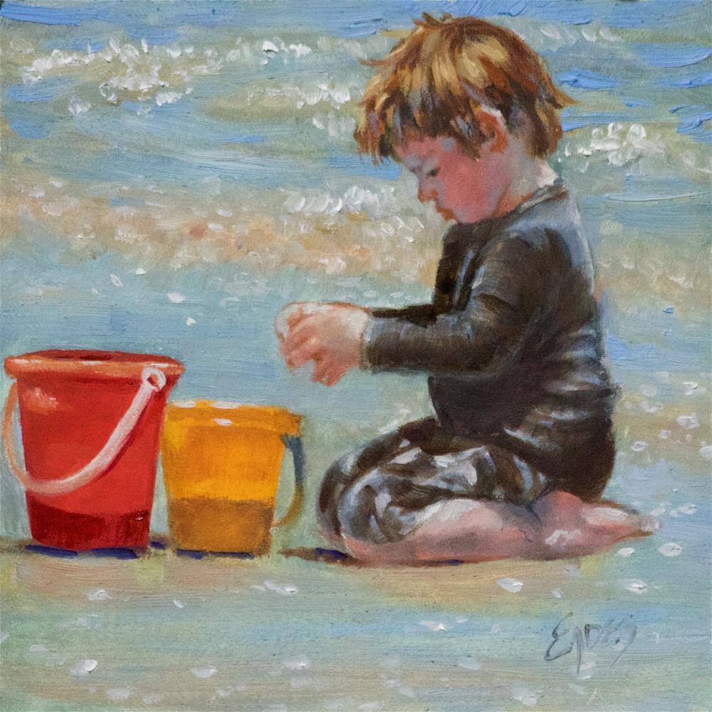 """Sand Buckets"" original fine art by Linda Eades Blackburn"