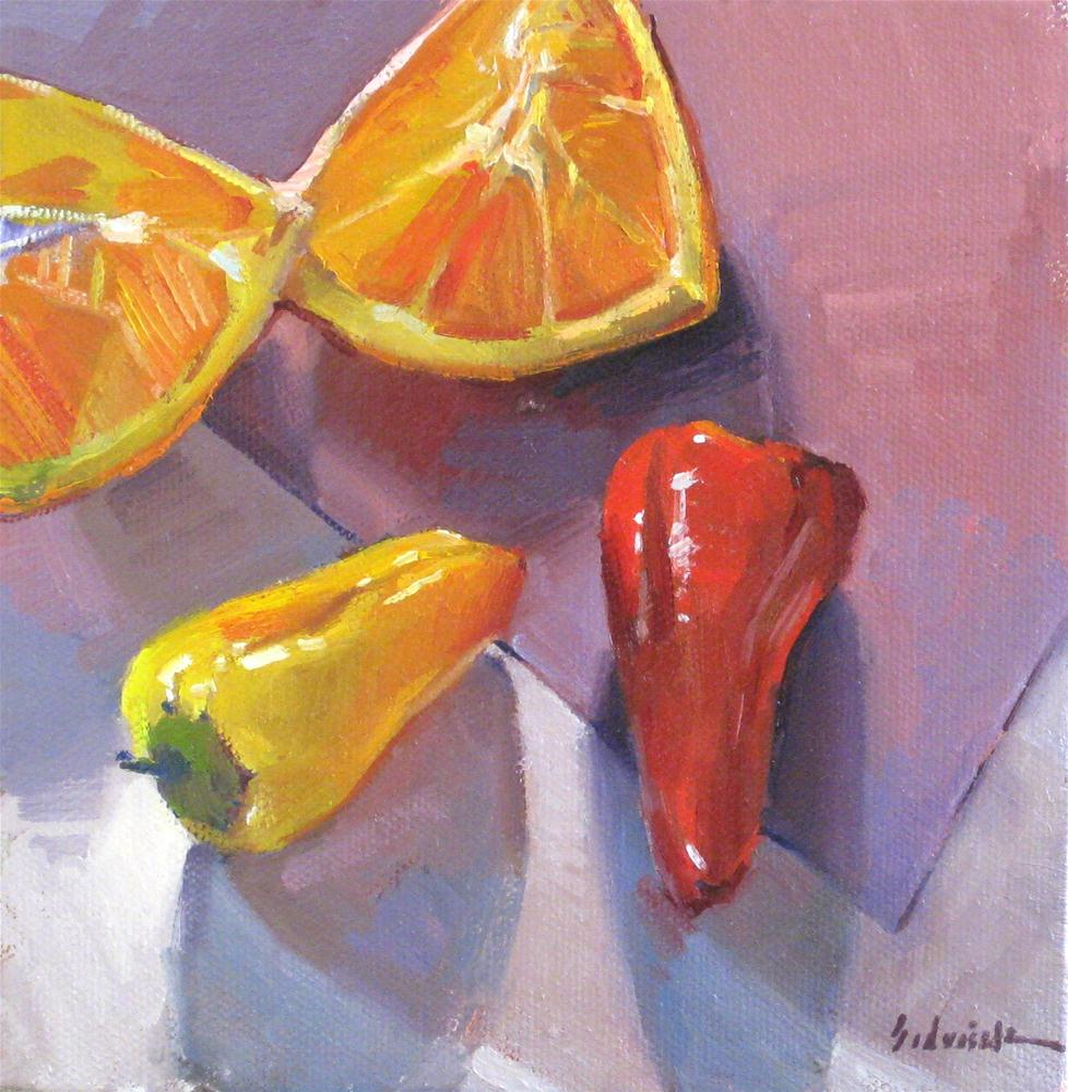 """Peppers and Wedges fruit vegetable bright colorful daily painting one dollar auction"" original fine art by Sarah Sedwick"
