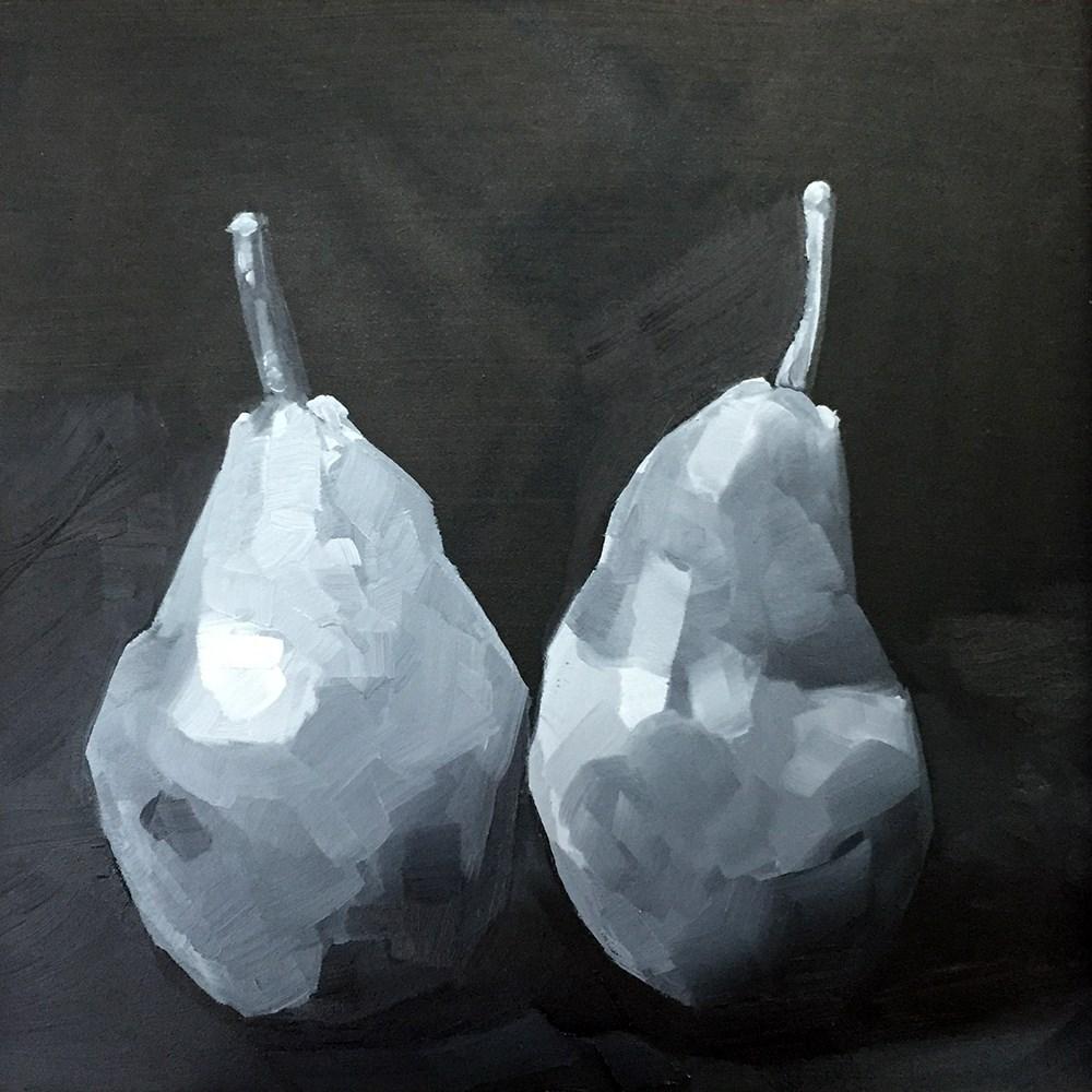 """""""BW Pear Pair"""" original fine art by Elizabeth Dawn Johnston"""