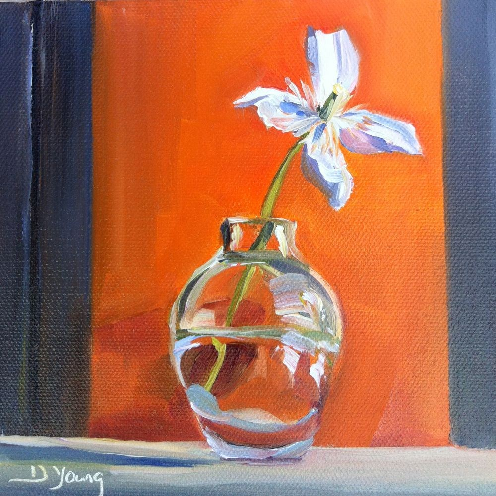 """White Clematis, oil on canvas panel, 6x6"" original fine art by Darlene Young"
