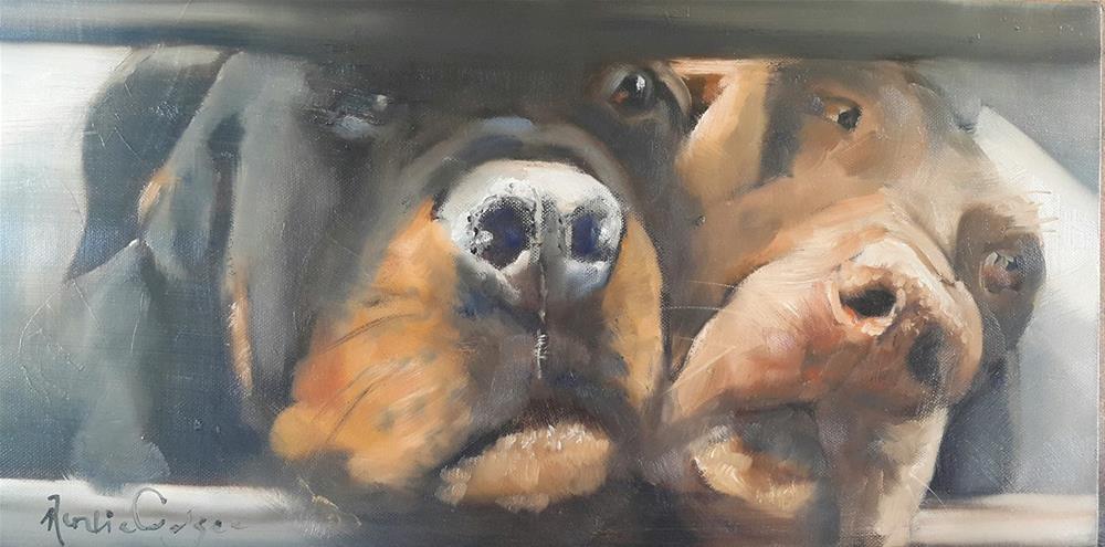 """""""Bakkieboere"""" original fine art by Rentia Coetzee"""